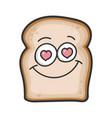in love smiling slice bread cartoon vector image vector image