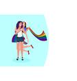 lesbian couple holding lgbt rainbow flag love vector image