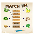 Matching game with fresh vegetables vector image vector image