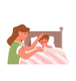 mother and sick son with cold flu fever ill vector image