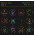 Outline icon set Religion in the world Flat linear vector image