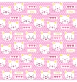 Patches kitten and hearts seamless pattern vector image vector image