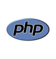 php emblem blue shield and black text vector image vector image