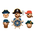 pirate at helm ship corsair funny sailor vector image