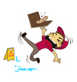 pizza boy slipping on wet floor vector image