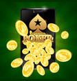 poker in the phone and gold coins vector image vector image