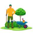 professional gardener with garden tool vector image vector image