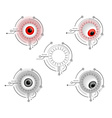 Red and gray cyborg eyes vector image vector image