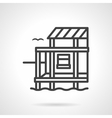 Riverside cottage black line design icon vector image vector image