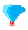 santa claus factory red factory and blue smoke vector image