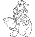 Santa Claus riding on polar bear coloring page vector image