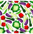 Seamless organic fresh vegetables pattern vector image vector image