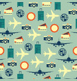 seamless pattern of travelling on airplane vector image vector image