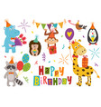 set isolated funny animals happy birthday vector image vector image