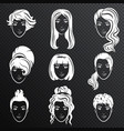 set of white women avatar hairstyles vector image