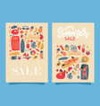 set two retro summer beach banners vector image