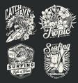 surfing vintage monochrome labels set vector image