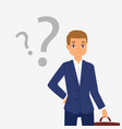 thinking question dreaming businessman young boy vector image