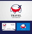 travel ecuador flag logo and visiting card design vector image