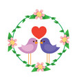 two happy cute bird in love with the heart in vector image