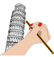 Woman that draws the Tower of Pisa vector image vector image