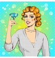 woman with cocktail in pop vector image vector image