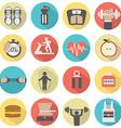 Modern Flat Design Fitness icon Set vector image