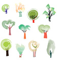 Trees set in sketchy artistic style vector image