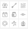 9 universal line icons for web and mobile bottle vector image vector image