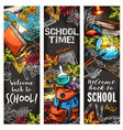 back to school banner set for education design vector image vector image
