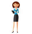 beautiful business woman displaying tablet vector image