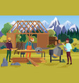building wooden house with mountain at background vector image