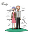 caricature couple people line woman in dress with vector image vector image