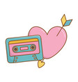 cassette and heart with arrow vector image vector image