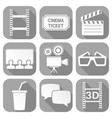 cinema icons set square gray signs with movie vector image vector image