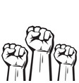 clenched fists raised in protest three human vector image vector image