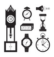 clocks icon set vector image vector image