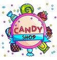 colorful template of candy shop label vector image vector image