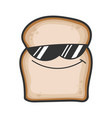 cool sunglasses slice bread cartoon vector image