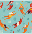 cute decorative background with swimming women and vector image
