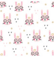 cute pink rabbits seamless pattern vector image