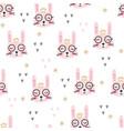 cute pink rabbits seamless pattern vector image vector image