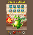 dragon on game template vector image vector image