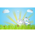 Easter design with grass sunrise two eggs vector image vector image