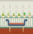 Empty Bench At Balcony With Pot Plant vector image vector image