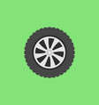 flat car wheel icon on green background vector image vector image