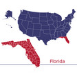 florida map counties with usa map vector image vector image