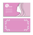 flyer with a profile of a beautiful woman vector image vector image
