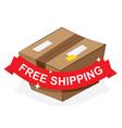 free shipping ribbon on carton box vector image