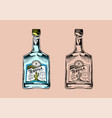 glass bottle with strong drink vintage mexican vector image vector image